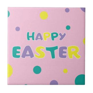 Polka Dots Pastel Pink Happy Easter Tile