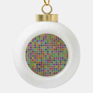 Polka Dots Pattern Fashion Vintage Retro Colors Ceramic Ball Christmas Ornament