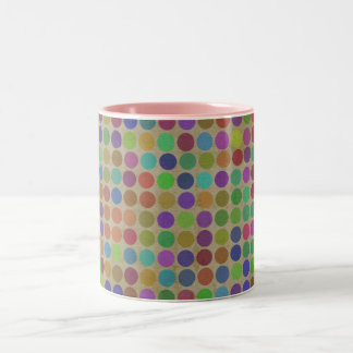 Polka Dots Pattern Fashion Vintage Retro Colors Two-Tone Coffee Mug
