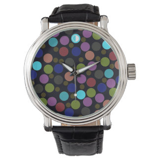 polka dots pattern hour wristwatch