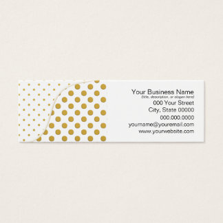 Polka Dots Pattern in Gold and White Mini Business Card