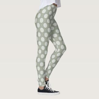 Polka Dots pattern white transparent contour black Leggings