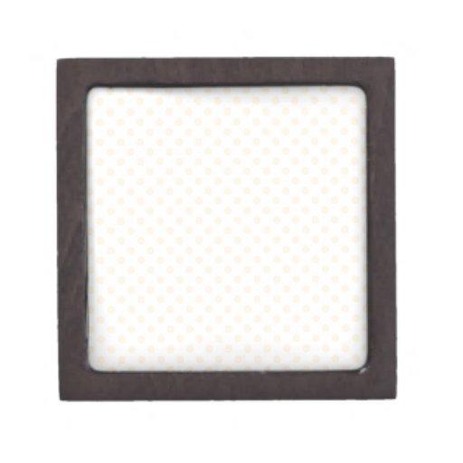 Polka Dots - Peach on White Premium Keepsake Boxes