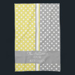 "Polka Dots Personalized Kitchen Towels<br><div class=""desc"">Yellow,  gray and white polka dotted pattern with accent stripe personalized kitchen towels. Personalize all text as you desire.  Click &quot;customize&quot; to resize text or change font styles.</div>"