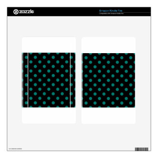 Polka Dots - Pine Green on Black Decals For Kindle Fire
