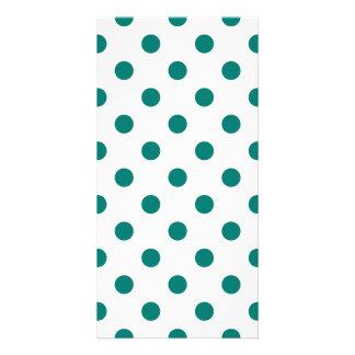 Polka Dots - Pine Green on White Card
