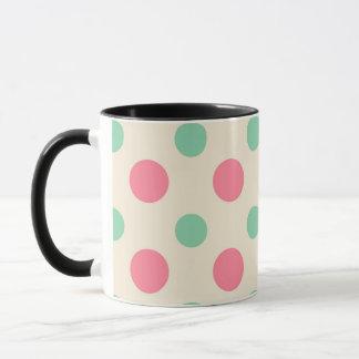 Polka dots , pink and green on cream mug