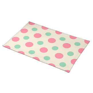 Polka dots , pink and green on cream cloth placemat