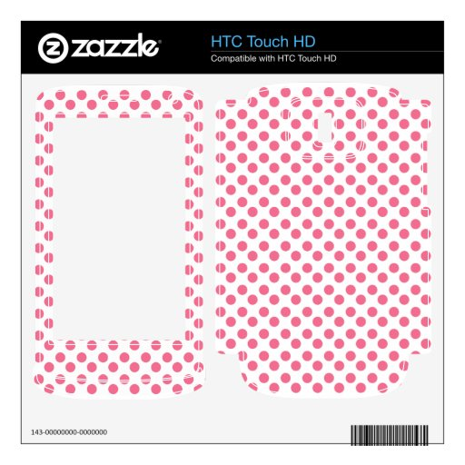 Polka dots pink and white HTC touch HD decals