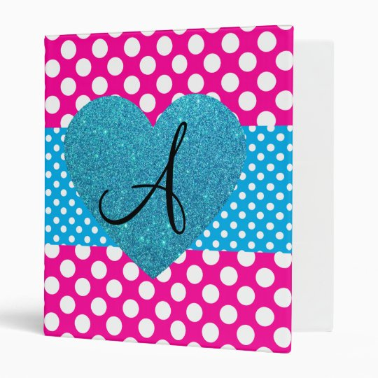 Polka dots pink and white monogram 3 ring binder