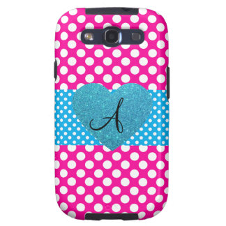 Polka dots pink and white monogram samsung galaxy SIII covers