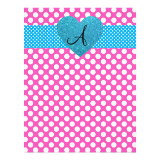"""Polka dots pink and white monogram 8.5"""" x 11"""" flyer"""