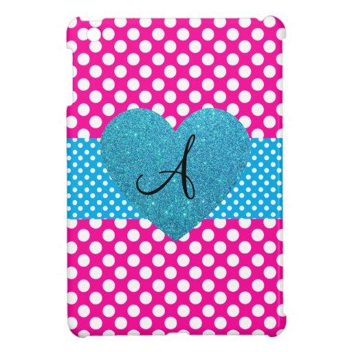Polka dots pink and white monogram iPad mini cover