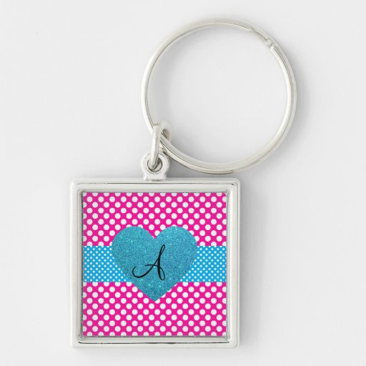 Polka dots pink and white monogram key chains