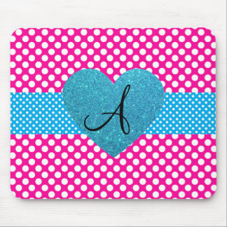 Polka dots pink and white monogram mouse pad
