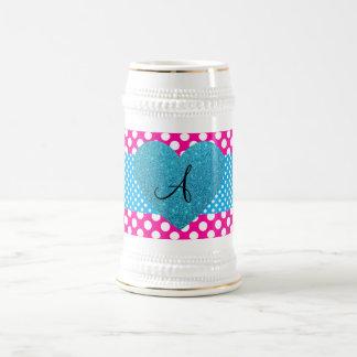 Polka dots pink and white monogram coffee mug