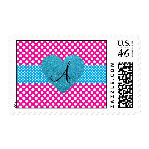 Polka dots pink and white monogram stamp