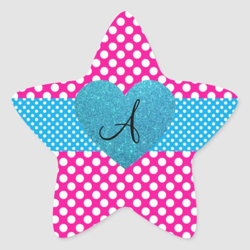 Polka dots pink and white monogram star stickers