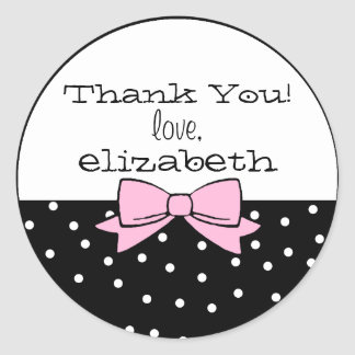 Polka Dots Pink Bow Thank You Classic Round Sticker