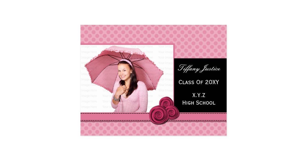 polka dots pink cute Graduation photo card