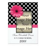 """polka dots pink daisy Graduation photo Invites 5"""" X 7"""" Invitation Card"""