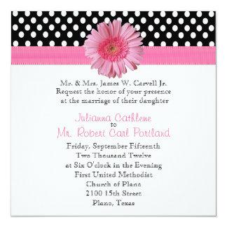 "Polka Dots & Pink Daisy Wedding Invitation 5.25"" Square Invitation Card"