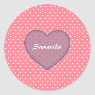 Polka Dots Pink Love Classic Round Sticker
