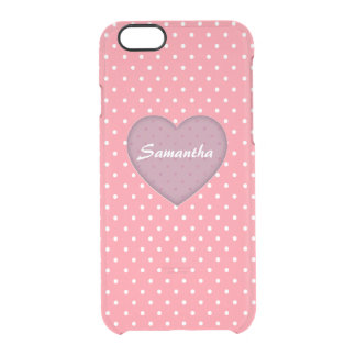 Polka Dots Pink Love Clear iPhone 6/6S Case
