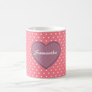 Polka Dots Pink Love Coffee Mug