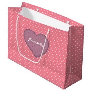 Polka Dots Pink Love Large Gift Bag