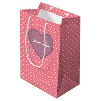 Polka Dots Pink Love Medium Gift Bag