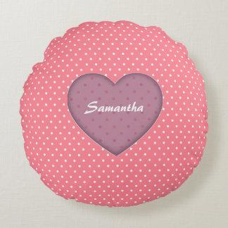 Polka Dots Pink Love Round Pillow