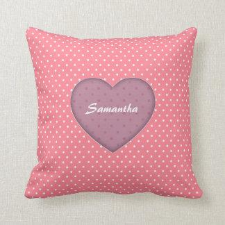 Polka Dots Pink Love Throw Pillow