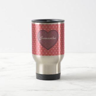 Polka Dots Pink Love Travel Mug