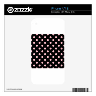 Polka Dots - Pink on Black Decal For iPhone 4