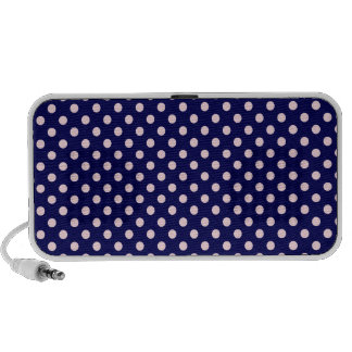 Polka Dots - Pink on Dark Blue Laptop Speakers