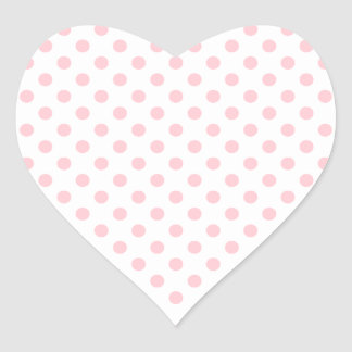 Polka Dots - Pink on White Heart Sticker