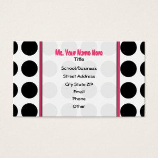 Polka Dots / Pink Teacher Fashion Business Card