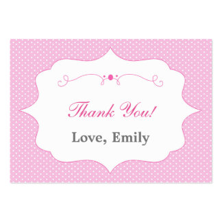 Polka Dots Pink Thank You Tag Label Large Business Card