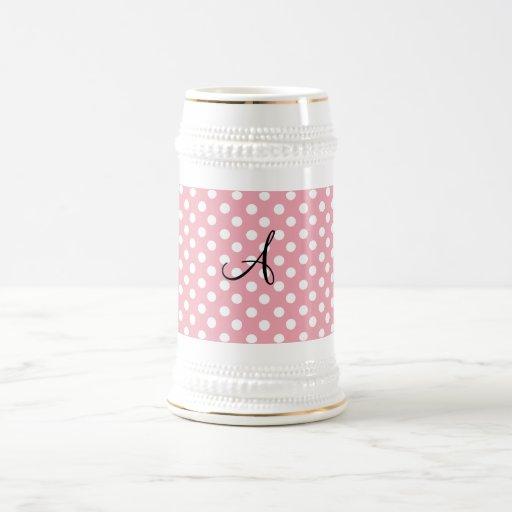 Polka dots pink white monogram 18 oz beer stein