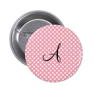Polka dots pink white monogram 2 inch round button
