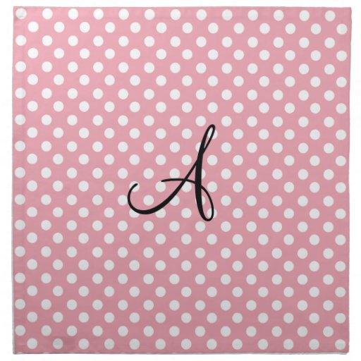 Polka dots pink white monogram cloth napkin