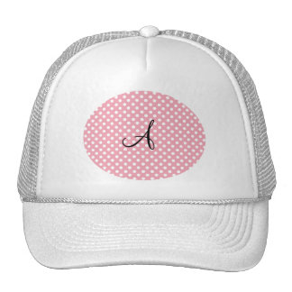 Polka dots pink white monogram trucker hat