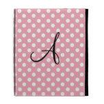 Polka dots pink white monogram iPad folio cover