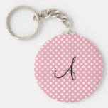 Polka dots pink white monogram keychains