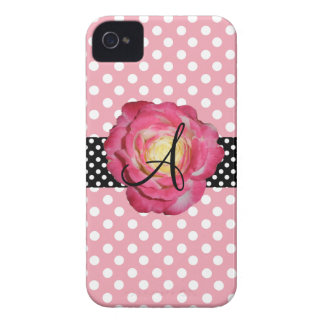 Polka dots pink white monogram pink rose iPhone 4 Case-Mate cases