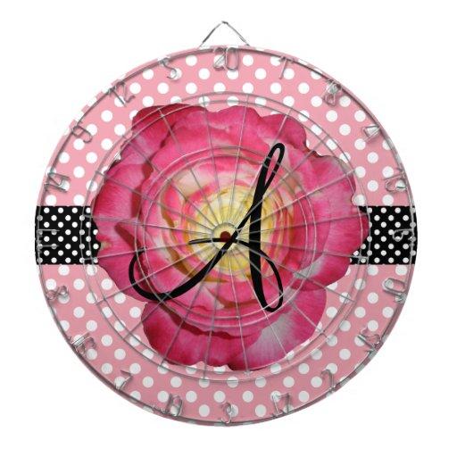 Polka dots pink white monogram pink rose dartboards