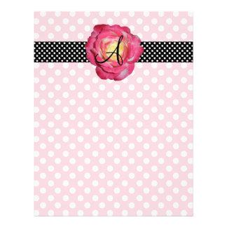 """Polka dots pink white monogram pink rose 8.5"""" x 11"""" flyer"""