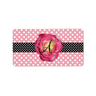 Polka dots pink white monogram pink rose custom address labels