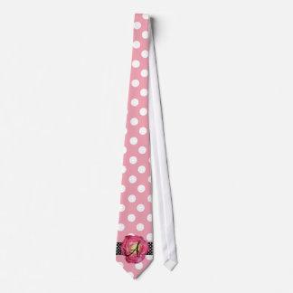 Polka dots pink white monogram pink rose neck tie